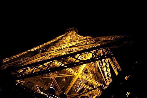 Tháp Eiffel nhìn từ phía dưới.