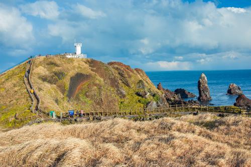 Cảnh sắc đảo Jeju nhìn từ đường đá Seopjikoji như dải lụa tiếp nối giữa biển xanh và đồng hoa lau đầy thi vị.