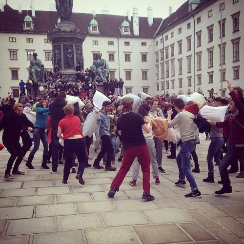 Đến Vienna, Áo không khí ngày hội dường như nhẹ nhàng hơn nhiều nơi khác. Một số thành phố như Barcelona, Kaunas, Milan sẽ tổ chức ngày ném gối vào 11/4. Ảnh: Instagram.