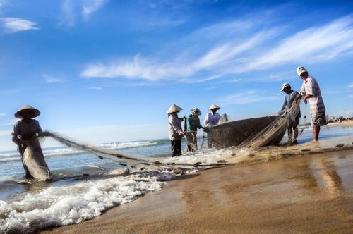 Ngư dân Mỹ Khê, Đà Nẵng sáng sớm tinh mơ đã ra khơi đánh cá, khi bình minh lên cũng là lúc ngư dân trở về bờ biển, cùng nhau tận hưởng thành quả lao động. Ảnh: Cao Anh Tuấn.