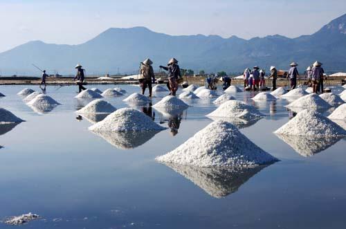 Phương thức làm muối vẫn đơn giản như bao đời nay, những hạt mồ hôi của các diêm dân đổ xuống cùng những hạt muối trắng lấp lánh trên bãi Sa Huỳnh, Quảng Ngãi. Ảnh: Quangngai.