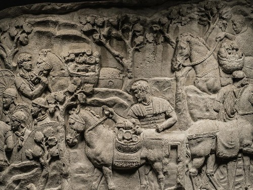 This scene shows Roman soldiers loading plunder onto pack animals after defeating Decebalus, the Dacian king. Casts such as this one preserve details on Trajans Column that pollution has eroded. Photo credit: Nat Geo