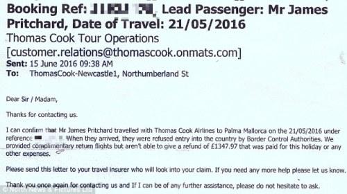 Thư mà Pauline Pritchard nhận được từ hãng lữ hành Thomas Cook. Ảnh: North News & Picture