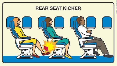 Đá vào ghế ngồi từ phía sau là hành động bị ghét nhất trên máy bay. Ảnh: CNN.