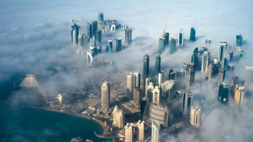 Qatar ô nhiễm nặng một phần do các công trường xây dựng. Ảnh: BBC.