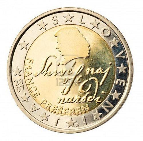 Slovenia  Đồng xu này mang hình nhà thơ nổi tiếng của Slovenia, France Preaeren, và lời tựa Shivé naj vsi naródi (Chúa ban phước lành cho mọi quốc gia)  dòng chữ lấy từ bài thơ nổi tiếng của ông Zdravljica, cũng được dùng trong quốc ca Slovenia. Kí tự viền của đồng 2¬ là các kí tự SLOVENIJA được theo sau bởi một ngôi sao nhỏ.