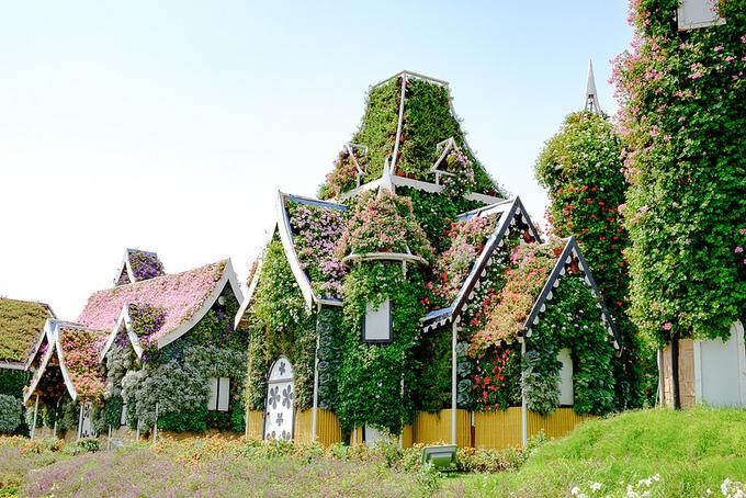 Thậm chí du khách có thể thấy nhiều ngôi nhà tạo thành một khu phố được phủ đầy hoa, lá. Ngoài ra, các cảnh vật thú vị khác như xe hơi lộn ngược, chim hồng hạc, những con vẹt... Ảnh: Flickr.