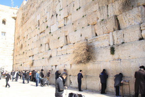 Bức tường dài được chia khu vực cầu nguyện riêng biệt cho phụ nữ và nam giới. Ảnh: Đoàn Loan.