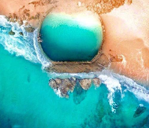 Từ trên cao nhìn xuống, bể bơi như một viên ngọc bích nằm trên đại dương. Đây cũng là điểm đến mà rất nhiều du khách thích thú và ghé thăm khi đặt chân tới California.