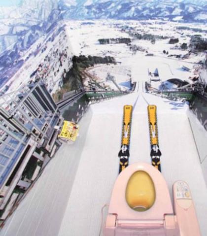 Trên ảnh là một nhà vệ sinh ở Nhật Bản. Nhằm giúp người sử dụng có cảm giác như đang ở trên núi tuyết, nhà vệ sinh này đã được vẽ lại hình ảnh các ngọn núi và tuyết trắng, mô phỏng lại cảnh quan của một khu nghỉ dưỡng.