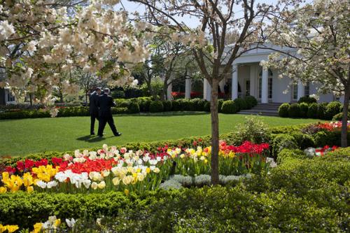 Vườn HồngVườn Hồng (Rose Garden) là địa điểm quen thuộc trong Nhà Trắng, nơi diễn ra các bài phát biểu của tổng thống. Khu vườn ban đầu được trồng bởi Đệ nhất phu nhân Dolley Madison vào đầu những năm 1800.Một thế kỷ sau, khi đệ nhất phu nhân Ellen Wilson cho người đào xới đất lên, những người làm vườn báo lại rằng hồn ma của Madison xuất hiện và ngăn cản họ phá huỷ khu vườn. Kể từ đó, các nhân viên thường báo cáo rằng có hươnghoa hồng kỳ lạ trong Nhà Trắng. Ảnh:Garden Rant.