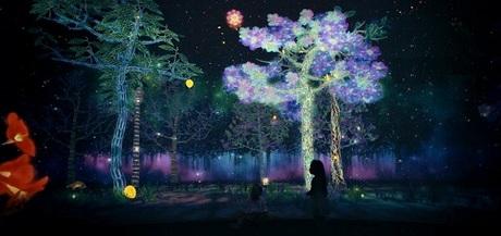Với độ cao 15m và trải dài tới 170m, Story of the Forest được chia làm ba phần chính: Mái vòm hoa rơi, Con đường tương tác cùng động thực vật địa phương và Thưởng ngoạn khung cảnh hoa nở trái rơi huyền ảo.Tại đây Tê Giác và Mèo chìm đắm trong khung cảnh kỳ ảo của rừng sâu được tái hiện qua sự sáng tạo của cộng đồng nghệ thuật nổi tiếng thế giới teamLab.