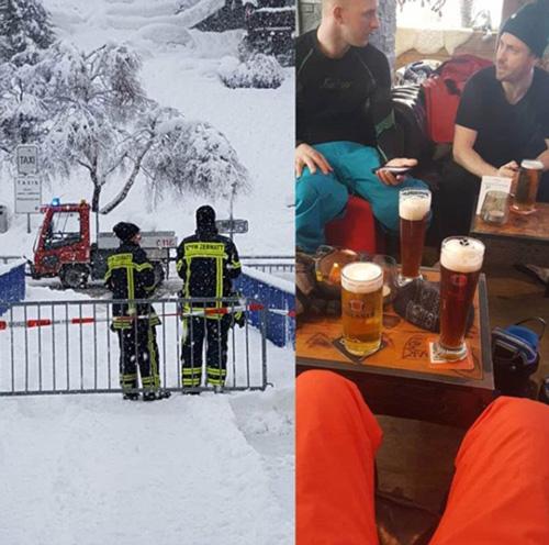 Ngoài trời giá lạnh, các du khách ở bên trong vẫn vui vẻ ngồi quây quầy bên những ly bia và tán gẫu.