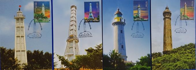 Bốn hải đăng xuất hiện trên tem và postcard