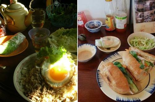 Món chủ đạo của quán là bánh mì thịt - thức ăn đường phố Việt Nam được xếp vào hàng top thế giới. Các món ăn được đựng trong chén đĩa đất nung.Ảnh: Mon-favori-kaname.