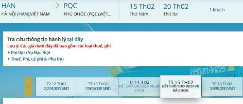 Vé Hà Nội đi Phú Quốc hết ngày 14-15/2.