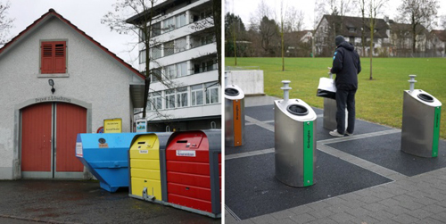 Thụy Sĩ: đất nước sạch bóng rác43 % rác thải được tái chế ở Zurich. Người ta có thể tìm thấy những thùng rác đựng giấy, kim loại và thủy tinh ở khắp nơi trên đường phố. Thậm chí, có những thùng rác ngầm chuyên dụng để chứa rác hay những chiếc túi nhựa trắng đặc biệt trị giá 1,5 euro/cái. Người dân nơi đây đều muốn dùng lượng túi nhựa ít nhất nên họ phân loại rác rất kỹ. Rác sẽ được đốt và cung cấp năng lượng cho 170.000 căn hộ. Khói được xử lý và thải ra ngoài mà không gây hại tới môi trường.Tro rác được mang ra khỏi thành phố để lọc kim loại, kể cả vàng. Trên thông báo ở mỗi thùng, mọi người có thể ném đi những loại rác  gây ồn bao gồm thủy tinh và kim loại từ 7 giờ đến 20 giờ các ngày trong tuần. Vào cuối tuần, không ai được phép ném đi những loại rác đó. Đây là điều luật được đặt ra để tránh gây phiền toái tới hàng xóm và những người xung quanh.