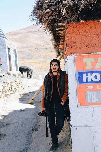 Lê Kiên Trung tại Ladakh, Ấn Độ hồi tháng 9/2016 . Ảnh: NVCC.