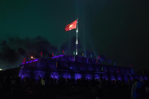 Thắp sáng kỳ đài Huế như một phần trong chuỗi sự kiện chào mừng tại Festival Huế vào tháng 4/2018.