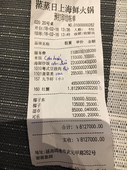 Nhà hàng ở Đà Nẵng bị tố tính phí phục vụ 2 triệu, dùng hoá đơn tiếng Trung