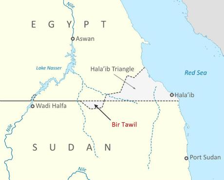 Vị trí của Bir Tawil bên bản đồ.
