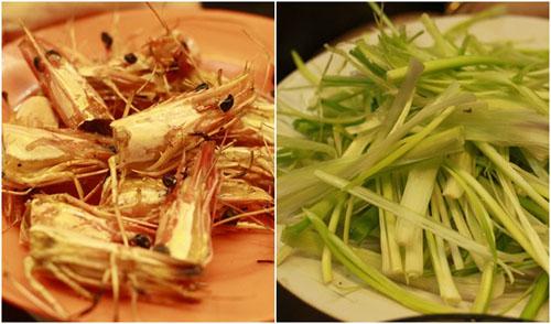 Đầu tôm nướng mọi và hành chẻ, nguyên liệu của món tôm Võ Tắc Thiên.