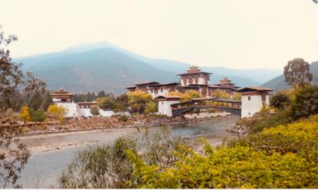Khung cảnh thanh bình vàtrong lành ở pháo đài Punakha Dzong vào cuối tháng2.
