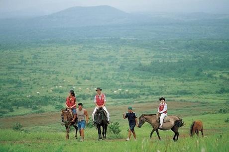 Trải nghiệm cưỡi ngựa trên thảo nguyên xanh của Jeju.