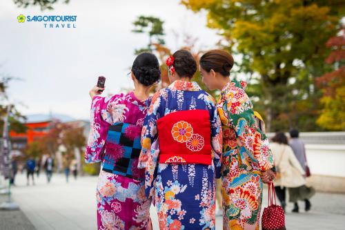Trải nghiệm mặc komono tại Nhật Bản.