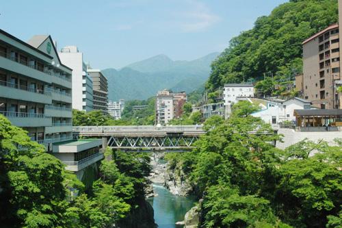 Kinugawa  Nằm cách Tokyo hai tiếng đồng hồ bằng tàu hỏa, suối nước nóng lần đầu tiên được tìm thấy ở khu vực này vào thời kỳ đầu của thời kỳ Minh Trị. Khu vực này đã được phát triển rộng rãi cho du lịch vào những năm 1970, tên Kinugawa được đặt theo dòng sông kế bên mang ý nghĩa Dòng sông cũa những con quỷ hung dữ