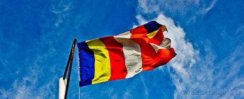 Lá cờ ngũ sắc của Phật giáo thế giới. Ảnh: BP.