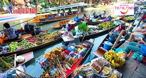 Trải nghiệm văn hóa chợ nổi Thái Lan.