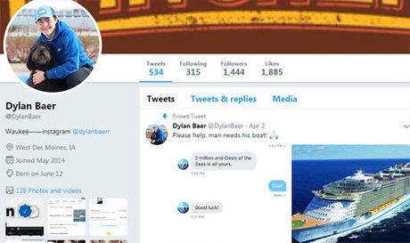 Để minh chứng cho lời kêu gọi, Dylan cũng đăng ảnh chụp màn hình dòng tin nhắn giữa mình và công ty tàu biển với nội dung tương tự. Ảnh: Twitter.