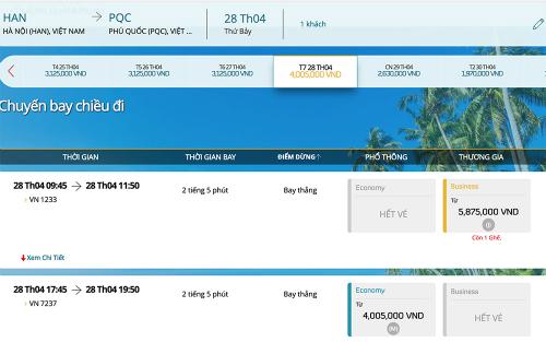 Một số khung giờ chặng Hà Nội - Phú Quốc đã không còn vé.