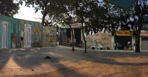Một góc phố Sài Gòn xưa được tái hiện.
