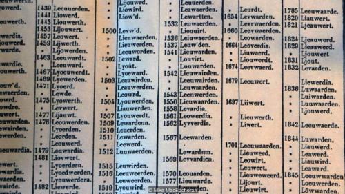 Cách viết tên thành phố Lauuwarden theo từng năm trong suốt 100 năm. Ảnh: BBC.