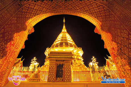 Chùa Wat Phra That Doi Suthep  một biểu tượng của Chiang Mai.