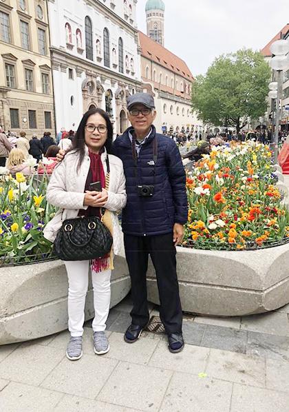 Nghệ sĩ Kim Xuân cùng chồng vừa có chuyến du lịch tới châu Âu. Ảnh: NVCC.