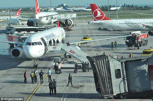 Hành khách được sơ tán khỏi máy bay. Ảnh:Airport Haber.