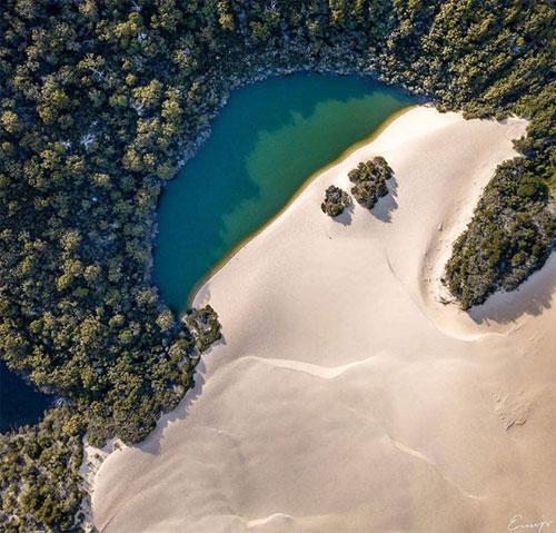 Chính quyền bang Queensland mới đây đã khởi động một chiến dịch quảng bá du lịch Tuyệt vời hôm nay, Hoàn hảo ngày maicùng thời điểm diễn ra Hội thảo Thịnh vượng chung Gold Coast, theo Escape.Hồ Wabby, Đảo FraserNằm ở sườn phía nam của KGari (đảo Fraser), hồ Wabby là một kì quan bị lãng quên. Đụn cát trải dài dọc bờ đang dịch chuyển ra phía hồ 1 mét mỗi năm và cuối cùng sẽ nuốt chửng mặt hồ. Hồ Wabby là nơi cư ngụ của 12 loài cá hiếm, trong đó có loài mắt xanh mật ongquý hiếm.