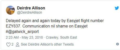 Nhiều hành khách đã bày tỏ sự không hài lòng của mình với việc bị trễ chuyến và đăng tải lên mạng xã hội. Ảnh: Twitter.