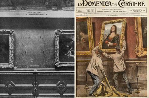 Nơi treo bức tranh Mona Lisa trống rỗng sau khi tác phẩm bị đánh cắp tại bảo tàng Louvre (ảnh trái) và báo chí miêu tả lại thời điểm nó được treo lại. Ảnh: CNN.