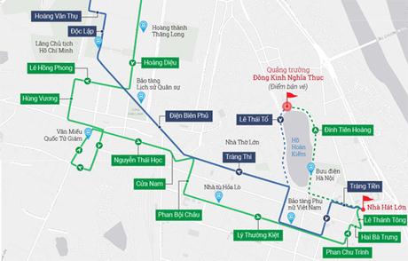 Lộ trình truyến xe buýt 2 tầng của Hà Nội. Click vào ảnh để xem hình cỡ lớn.
