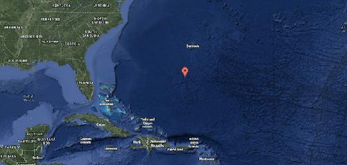 Vị trí của biển Sargasso trên Google Maps. Ảnh: MFacts.