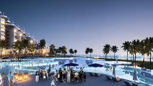 Là hạng mục quan trọng nằm trên trục trung tâm sôi động cùng với phố đi bộ, quảng trường Arena kéo sang bên kia là biển Bãi Dài, bể bơi 3 tầng còn là địa điểm lý tưởng để các show ca nhạc Beach Party, biểu diễn thời trang& diễn ra tại đây.