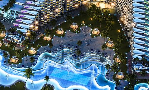 Không đơn thuần là bể bơi bốn mùa hay vô cực, bể bơi mới được thiết kế giật cấp với 3 tầng nước, gồm nước khoáng, nước mặn và nước ngọt mang đến trải nghiệm độc đáo.