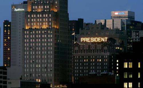 Khách sạn President ở thành phố Kansas, bang Missouri là một tòa nhà nằm trong danh sách địa danh lịch ở Mỹ. Ảnh: Kansas City Star.