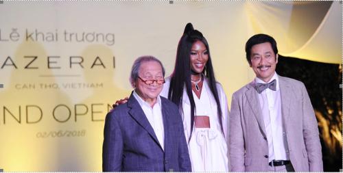 Siêu mẫu Naomi Campbell, ông Adrian Zecha và ông Bùi Thành Nhơn  chủ tịch Novaland Group tại sự kiện khai trương resort.