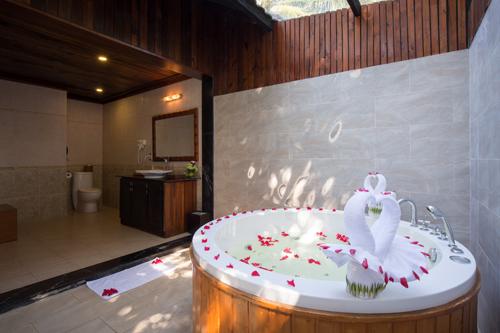 Phòng tắm không gian mở, chan hòa ánh nắng, tạo cảm giác gần gũi, hòa mình vào thiên nhiên. Bồn tắm bể sục sẽ mang tới cho quý khách những giây phút thư giãn tối đa.