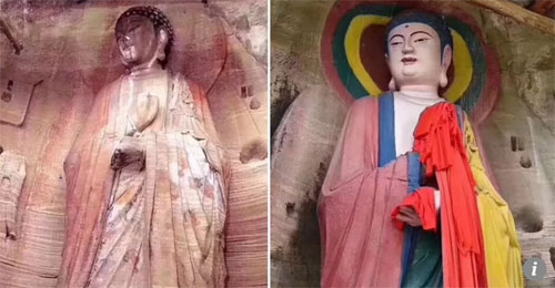 Bức tượng Phật trước (ảnh trái) và sau khi tu sửa ở tỉnh Cam Túc. Ảnh: Scmp.
